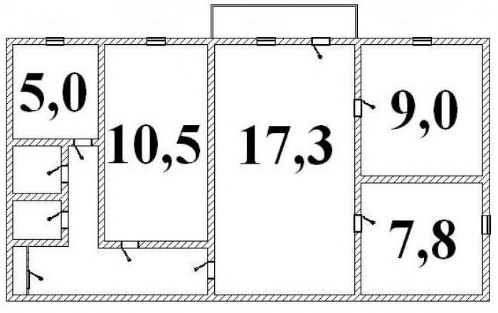 4-х комнатная квартира по цене 2-х комнатной для большой весёлой семьи, в которо 6132