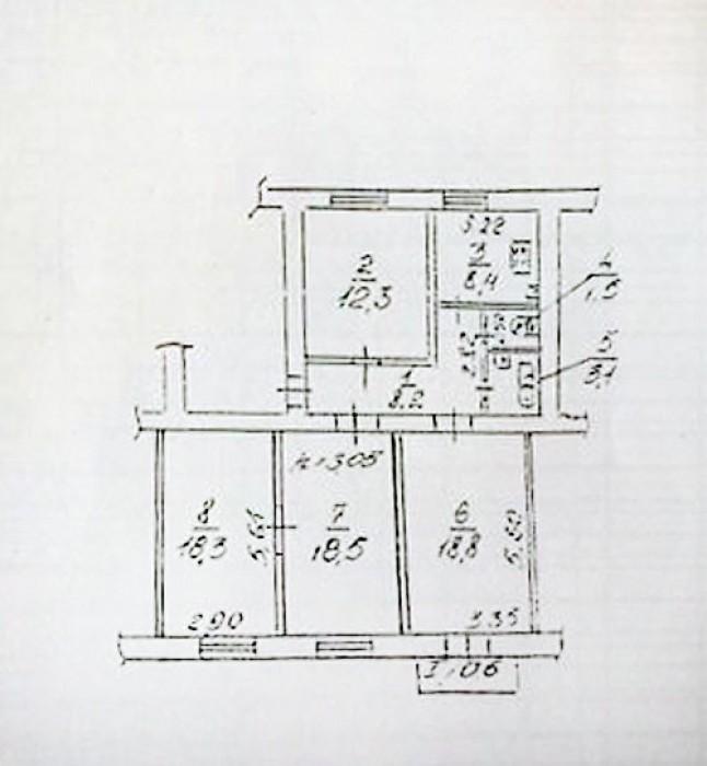 Продам 4-х комнатную квартиру 2+1+1, сталинка, 5 этаж 5-ти этажного кирпичного д 6143