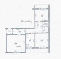 Продается трехкомнатная квартира на Казакова. Общая площадь 70.5 кв.м., кухня 8  61387