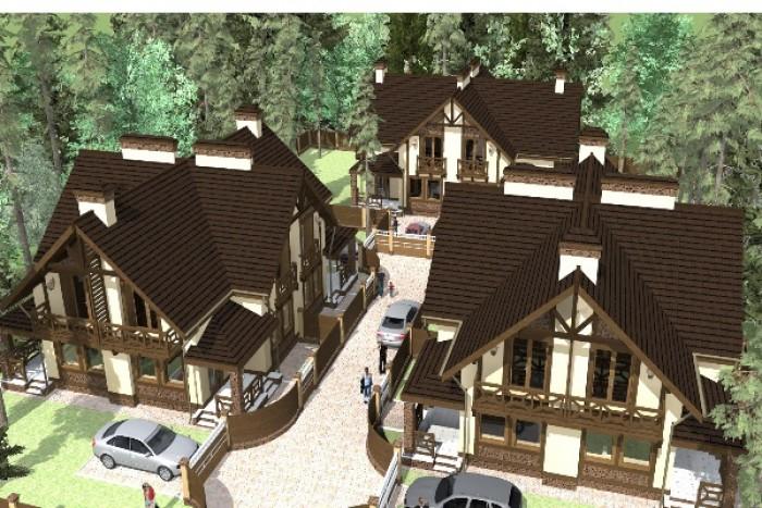 Комплекс из трех дуплексов расположен непосредственно в лесной части Ирпеня. Дом 62626