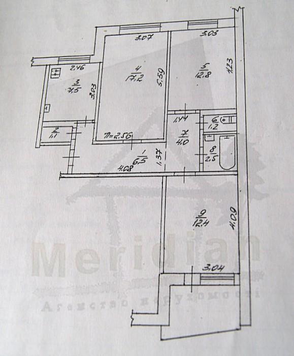 Тёплая уютная квартира в самом центре города 65,2/42,4/7,5   санузел раздельный, 611787