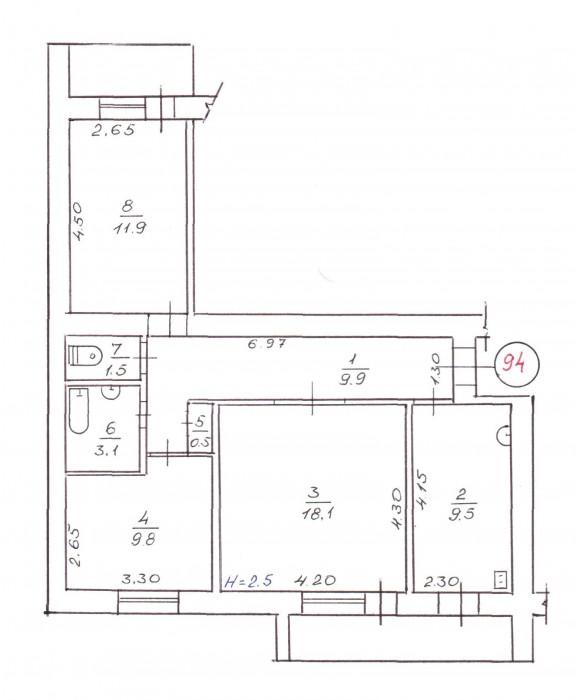 Продам 3-х ком. свою квартиру. Не угловая.Кирпичный дом.  Металопластиковые окна 611957