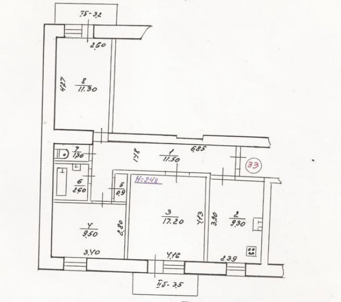 Трехкомнатная квартира в кирпичном 10 эт. доме, улучшенная планировка. Кухня 9,3 612142