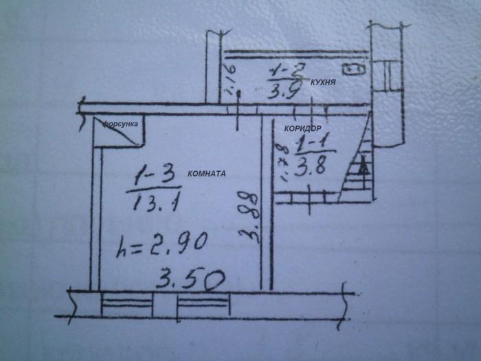 жилое помещение 21кв.м,не угловое, кирпич, требует ремонта,2 окна на красную лин 61488