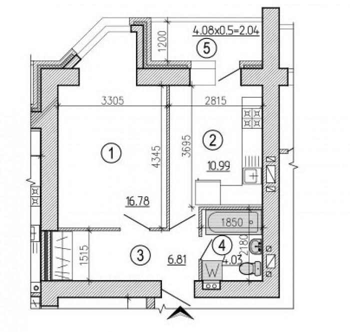 Квартира в новом кирпичном доме, без отделки. 61621