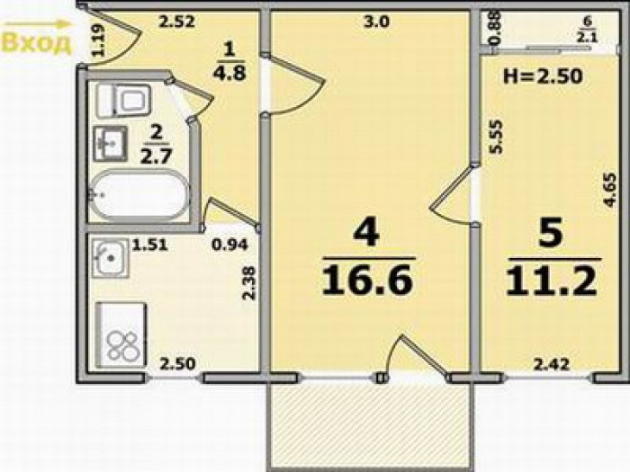 Продам свою 2к. кв. в Чернигове (Вал). Дом панель, 5/5 (крыша не течет), 45м2, к 61641