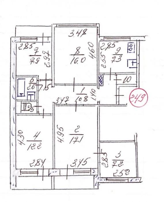 Продам 5-комнатную квартиру на 1м высоком этаже 9ти этажного дома (возможно под  61717