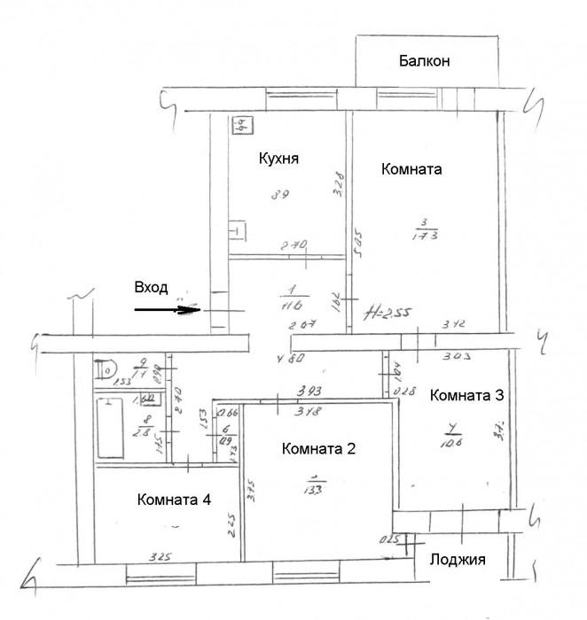 Продается 4-х комнатная квартира, 3-й этаж 5-ти этажного кирпичного дома с гараж 61763