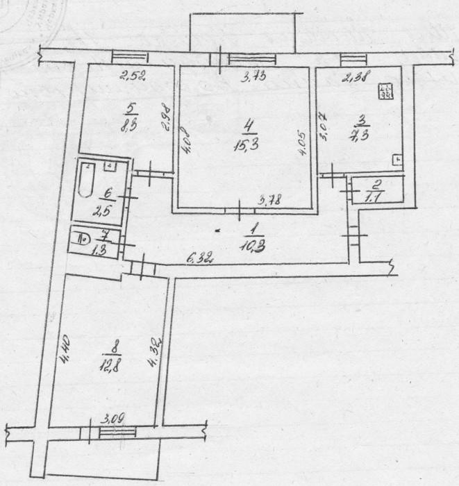 3-кімн. кв., б. Шевченка, р-н пл. 700-річчя, 68/47/7,3, жилий стан, кухня - кахл 612479