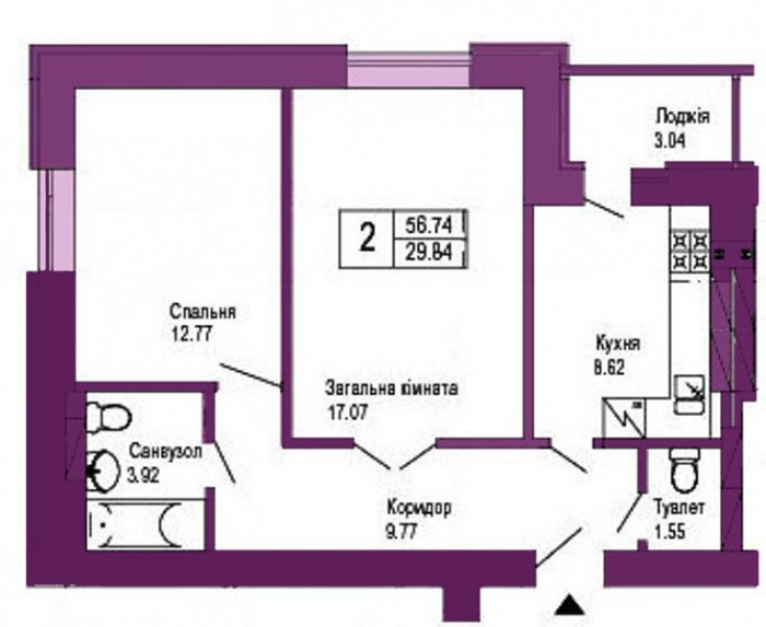 Ирпень, ул. Лесная 2 ком. квартира 56/29/9 м2. Дом уютно расположился в одном из 612493