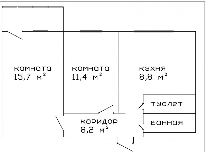 Новый кооперативный дом, 7/8. Очень тёплая квартира общей площадью 50 м2;, комна 612548