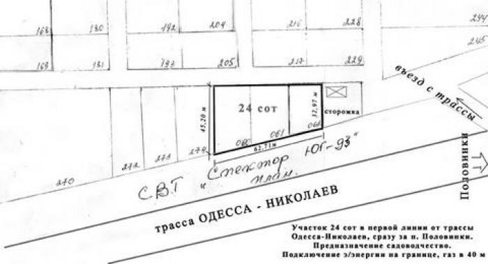 Участок на трассе Одесса – НиколаевПродам участок 24 сот (два ГосАкта по 12 сот) 63658
