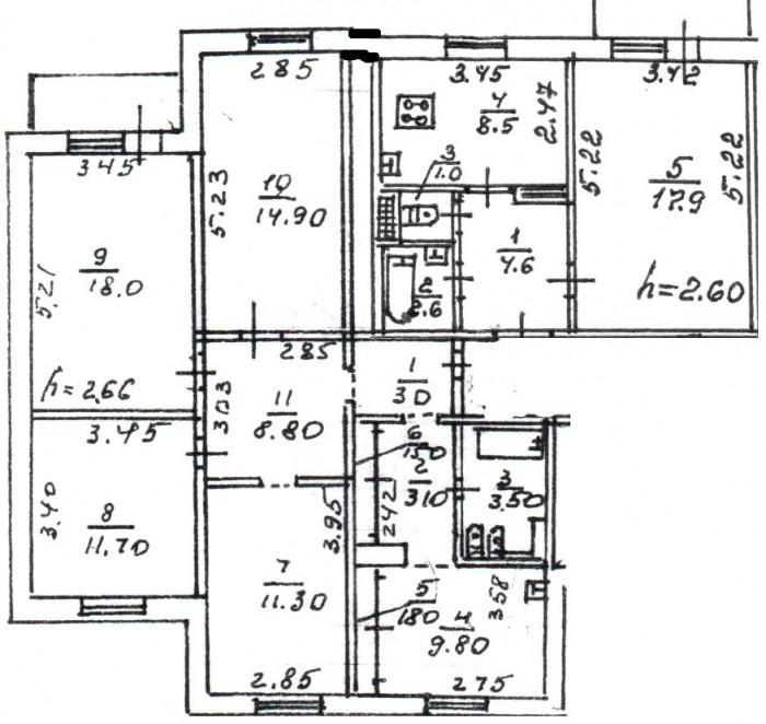 пятикомнатная квартира, с обстановкой (мебель, быт.техника), евроремонт.2 ванные 613477