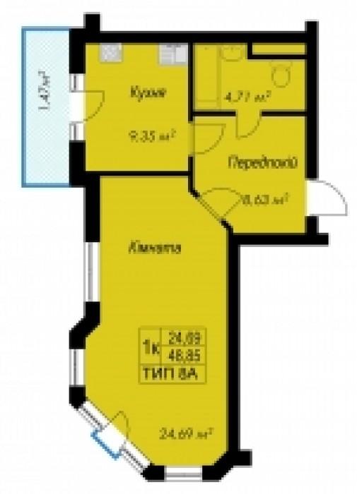 Однокомнатная квартира площадь 48,85 кв.м. Есть выбор этажей (со 2-го по 8-й эта 614779