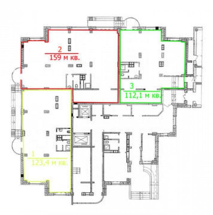 Три встроенных нежилых помещения: 112,1 м кв., 123,4 м кв., 159 м кв., возможна  641959