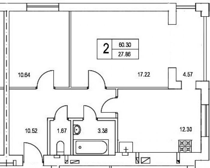 Ирпень, последняя 2-х комнатная квартира в готовом доме, 25 эт. общей площадью 6 614935