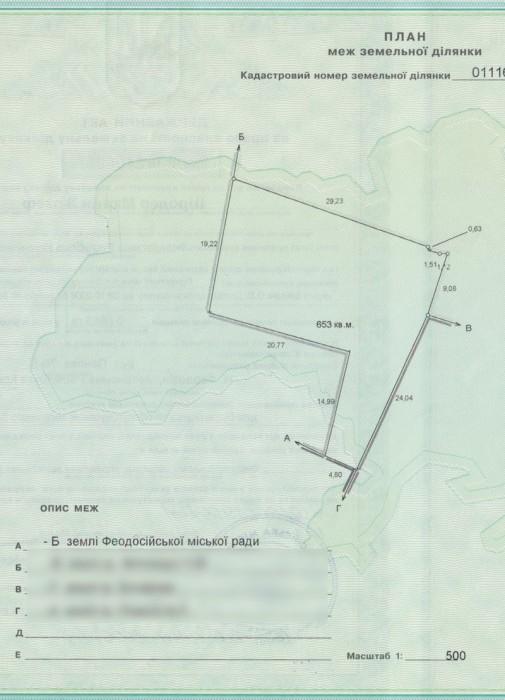 Феодосия участок 6,5 соток, приват. госакт.Земельный участок в Феодосии продам,  631153