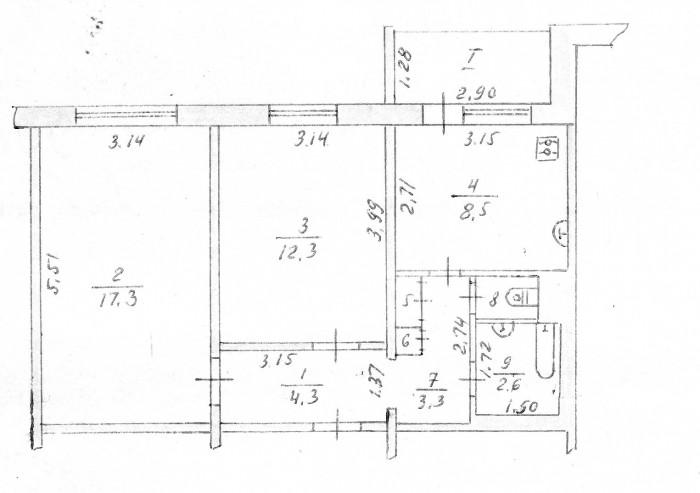 Продается 2-ух комнатная квартира по ул.Котляревского,р-н школы 19.2/9 пан. Обща 615239