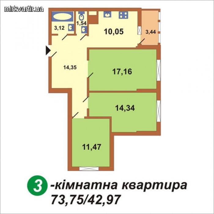 Срочно продам трехкомнатную квартиру по адресу: ул. Урловская, 19. Окна выходят  615466
