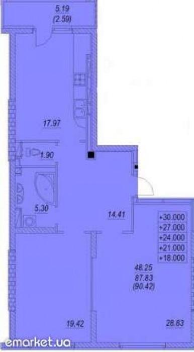 10/1690,42/48,25/17,972х сторонняя светлая квартира, балкон, с/у раздельный, пол 615617