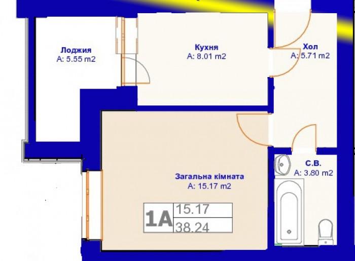 Ирпень, ул. Киевская  1 ком. квартира 38/16/8 м2 . Новый кирпичный дом, автономн 615733