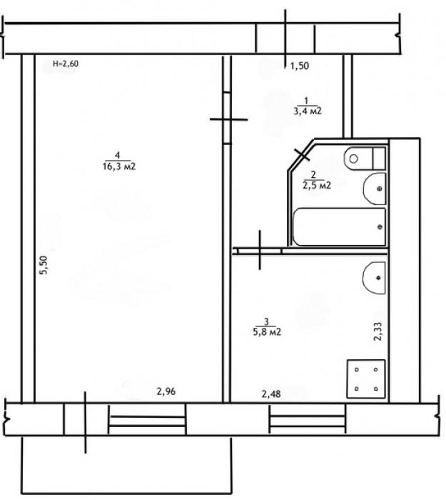 1-комн. квартира по ул. Розы Люксембург в кирпичном доме 28 м2;  2/2/К.  Жилое с 615884