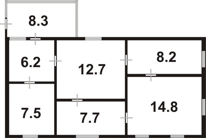 дом, с.Троянов, 4 комнаты, 65.5/39/13, газ и центральное водоснабжение 3м от дом 622700