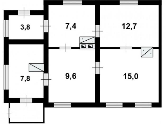 Продам часть дома, Крошня, ул.Танкистов, 56.3/44.7/7.8, 4 комнаты, газ, свой дво 622790