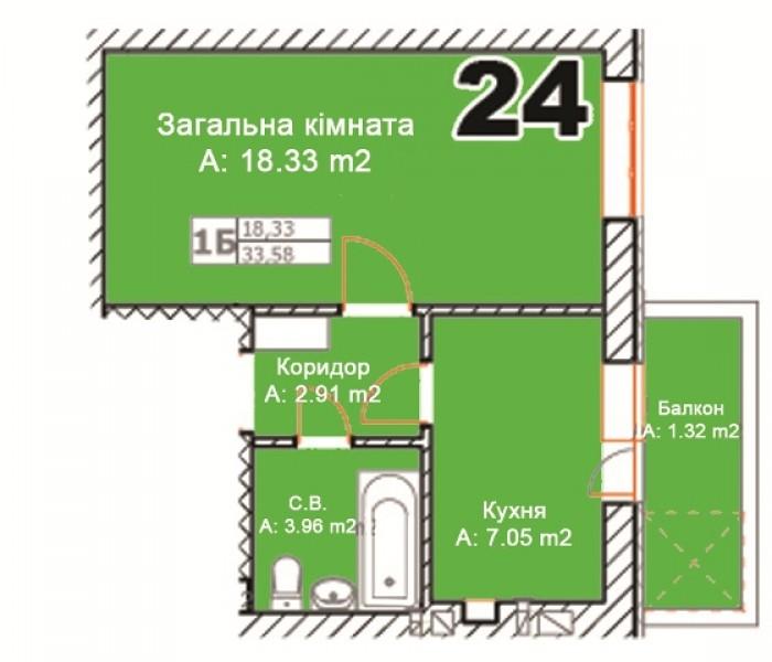 Буча 1ком.кв. , 34/18/7, комплекс із 4 будинків, 5 поверхів,  індивідуальне опал 616584
