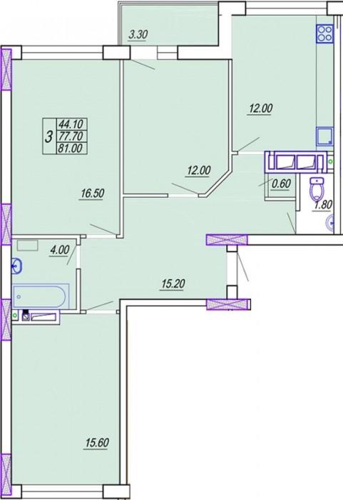 3 комнатная квартира Днепропетровская дорога  / Марсельская8/16 этажного дома ,  616840