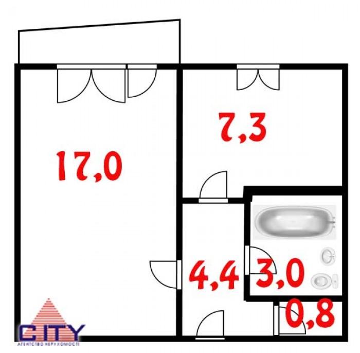 Пропонується до продажу однокімнатна квартира в жилому стані, балкон засклений,  617209