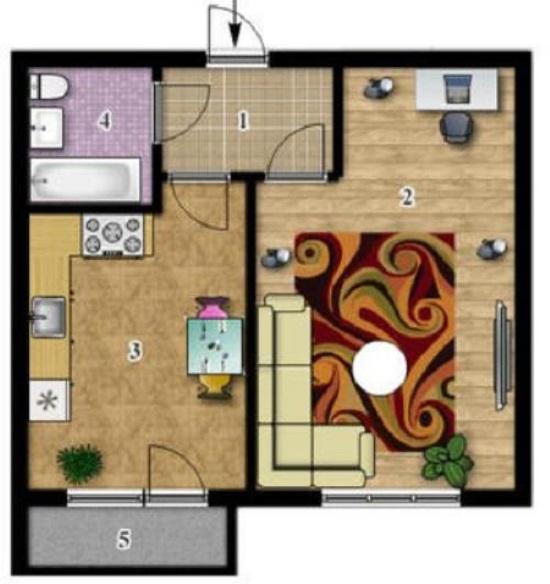 1-комнатная квартира 35,06 кв.м в ЖК Сонцтаун