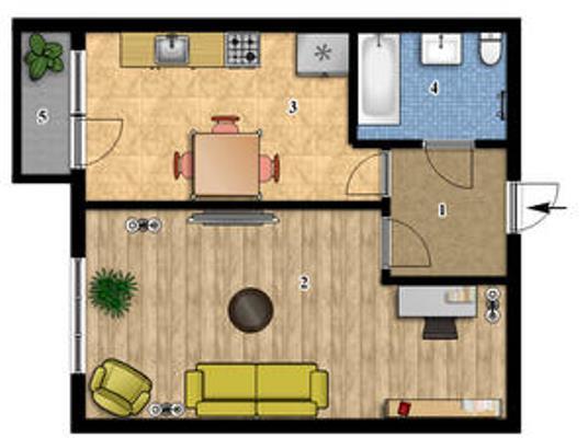 1-комнатная квартира 40,97 кв.м в ЖК Сонцтаун