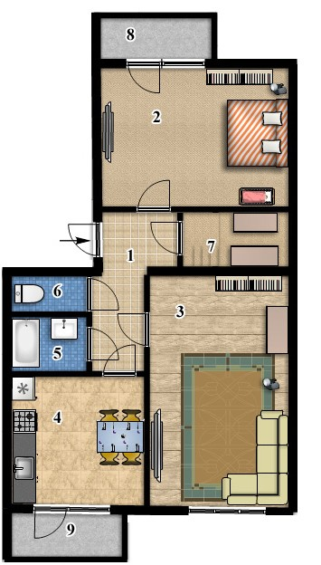 2-комнатная квартира 68,1 кв.м в ЖК Сонцтаун   с. Чайки