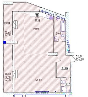 Квартира (104, 88кв.м) в новом коттеджном комплексе MORE